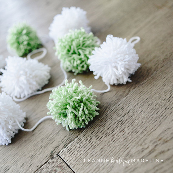 Etsy - Green and White Pompom Garland