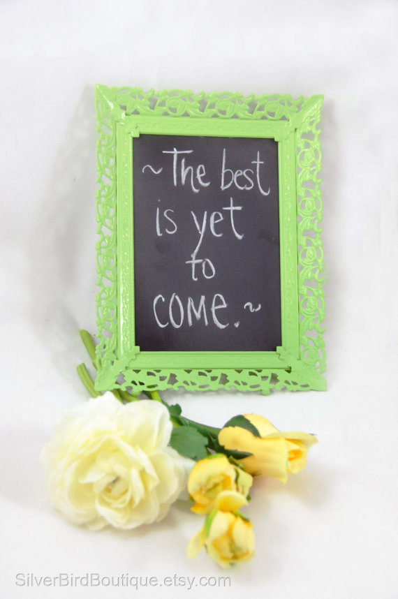 Etsy - Lime Green Filigree Shabby Chic Framed Chalkboard